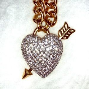 Juicy Couture Large Pave Heart and Arrow Necklace